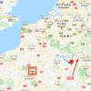 地図パリとヴァレンヌと国境